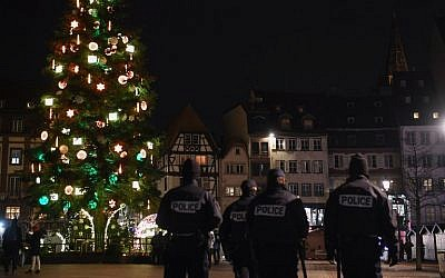 Police officers patrol on December 13, 2018, in Strasbourg eastern France, near the Christmas market, after a shooting breakout, on December 11, 2018. (Alain Jocard/AFP)