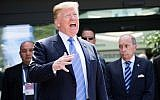 In this photo from June 9, 2018, US President Donald Trump speaks as he leaves the G7 summit in La Malbaie, Quebec. (Lars Hagberg / AFP)