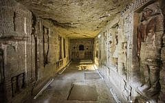 "This picture taken on December 15, 2018 shows a general view of a newly-discovered tomb belonging to the high priest ""Wahtye"" who served during the fifth dynasty reign of King Neferirkare (between 2500-2300 BC), at the Saqqara necropolis, 30 kilometres south of the Egyptian capital Cairo. (Khaled DESOUKI/AFP)"