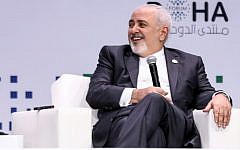 Iran's Foreign Minister Mohammad Javad Zarif speaks during a session of the Doha Forum in the Qatari capital on December 15, 2018. (AFP)