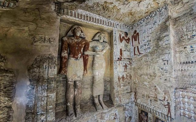 """This picture taken on December 15, 2018 shows a view of a newly-discovered tomb belonging to the high priest """"Wahtye"""" who served during the fifth dynasty reign of King Neferirkare (between 2500-2300 BC), at the Saqqara necropolis, 30 kilometres south of the Egyptian capital Cairo. (Khaled DESOUKI / AFP)"""