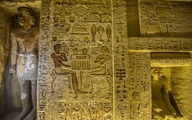 """This picture taken on December 15, 2018 shows a view of a newly-discovered tomb belonging to the high priest """"Wahtye"""" who served during the fifth dynasty reign of King Neferirkare (between 2500-2300 BC), at the Saqqara necropolis, 30 kilometres south of the Egyptian capital Cairo. (Khaled DESOUKI/AFP)"""