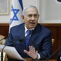 Prime Minister Benjamin Netanyahu attends the weekly cabinet meeting at the Prime Minister's Office, in Jerusalem, on December 16, 2018. (ABIR SULTAN / POOL / AFP)