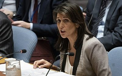 In this file photo taken on November 26, 2018,  US Ambassador to the UN Nikki Haley addresses the UNSC during a United Nations Security Council meeting on Ukraine at the United Nations in New York (Don EMMERT / AFP)