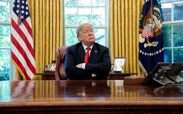 US President Donald Trump in the Oval Office of the White House in Washington, DC, October 10, 2018. (SAUL LOEB/AFP)