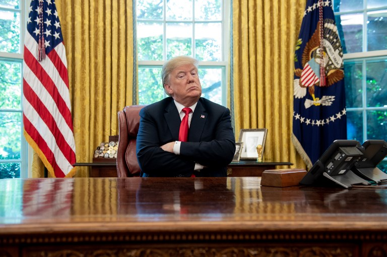 US President Donald Trump in the Oval Office of the White House in Washington DC