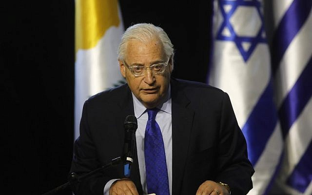 US Ambassador to Israel David Friedman delivers a speech during the 5th Israel-Greece-Cyprus summit on December 20, 2018, in Beersheba. (Menahem Kahana/AFP)