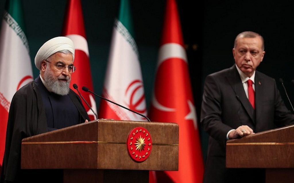 Iran's President Hassan Rouhani (L) and Turkey's President Recep Tayyip Erdogan (R) attend a joint press conference at the Turkish presidential complex in Ankara on December 20, 2018.  (Adem ALTAN / AFP)