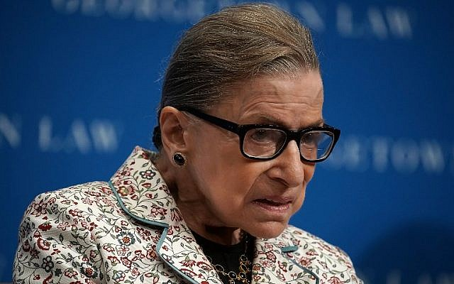 In this file photo from September 26, 2018, US Supreme Court Justice Ruth Bader Ginsburg participates in a lecture at Georgetown University Law Center in Washington, DC. (Alex Wong/Getty Images North America/AFP)