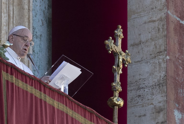 Remember the poor and shun materialism, pope Francis' Christmas message