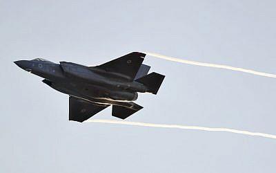 Illustrative: An Israeli Air Force F-35 Lightning II fighter jet takes part in a graduation ceremony for IAF pilots at the Hatzerim base in Israel's Negev desert on December 26, 2018. (Jack Guez/AFP)