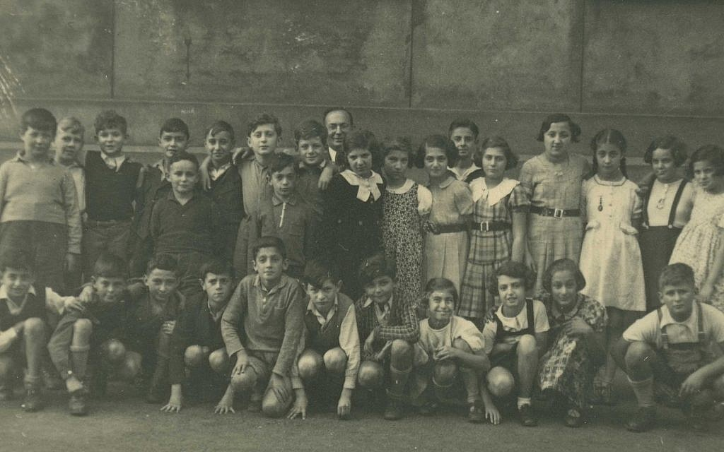 September 4, 1938: 'A Last Class Photo.' Ten-year-old Gisela Kleinermann (top row, right) would soon say goodbye to her classmates at the Dresden Jewish school (which Jewish children were forced to attend after they were no longer permitted in German public schools), as she would soon be emigrating to the US. (Courtesy of Leo Baeck Institute – New York | Berlin)