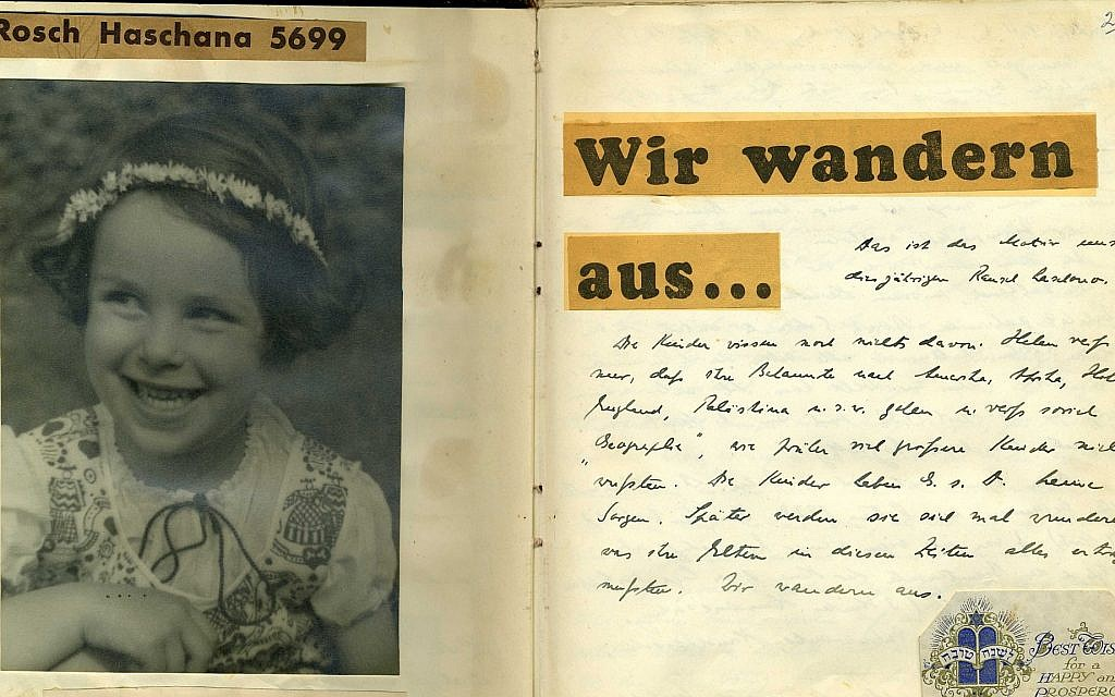 September 26, 1938: 'We're Emigrating.' Page marking Rosh Hashana in scrapbook prepared by Wilhelm Hesse for his daughters Helen and Eva. Eva would go on to become one of the leading female American artists of the 20th century. (Courtesy of Leo Baeck Institute – New York | Berlin)