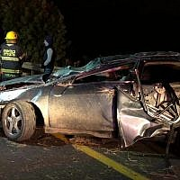 A car in which two people were killed and three wounded in a crash near Kiryat Gat on December 7, 2018. (Police Spokesperson)