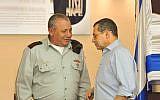 Shin Bet chief Nadav Argaman (R) and IDF Chief of Staff Gadi Eisenkot in a ceremony at the Shin Bet headquarters in Tel Aviv on December 10, 2018. (Shin Bet)