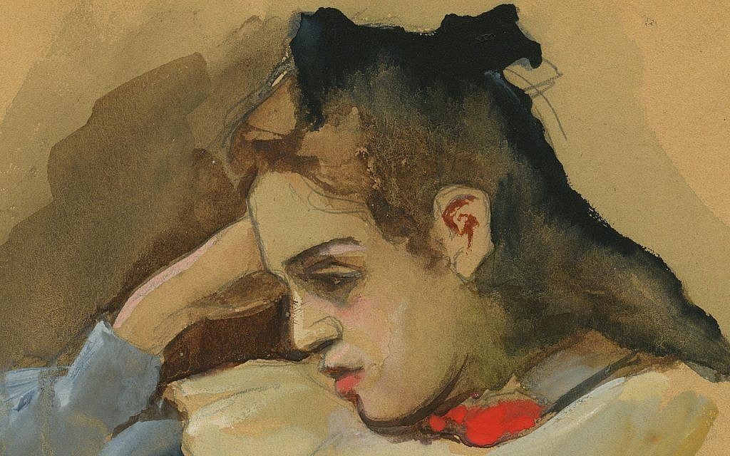 November 15, 1938: 'A Sensitive Eccentric.' Detail of a water color portrait of a young girl by Expressionist and Dadaist artist John Hoexter. A leftist activist and idealist, he committed suicide soon after experiencing the violence of Kristallnacht, (Courtesy of Leo Baeck Institute – New York | Berlin)