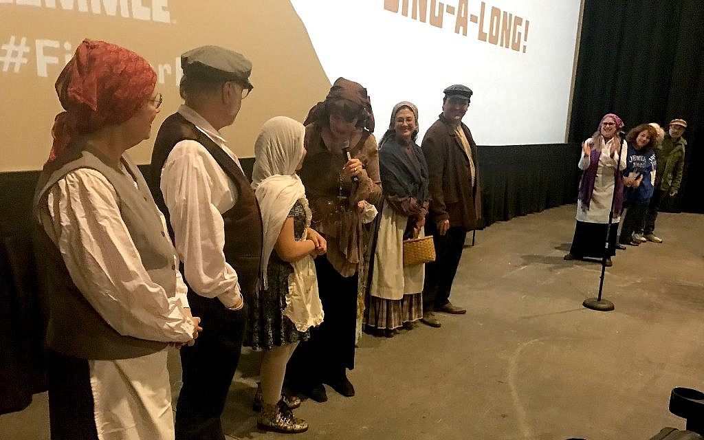 Participants at a Laemmle theater dressed up as 'Fiddler on the Roof' characters. (Courtesy of Laemmle.com/via JTA)