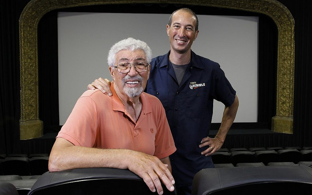 Robert Laemmle, left, and his son Greg run the art house theater chain together. (Courtesy of Laemmle.com/via JTA)