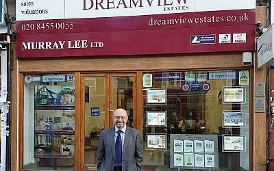 Murray Lee standing outside his London real estate agency, December 13, 2018. (Cnaan Liphshiz/JTA)