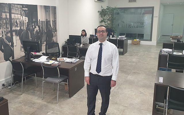 Richard Dangoor at his London office, December 13, 2018. (Cnaan Liphshiz/JTA)