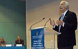 Robert Arnow speaks at the dedication of the Robert H. Arnow Center for Bedouin Studies and Development at Ben-Gurion University of the Negev in 2007. (BGU via JTA)