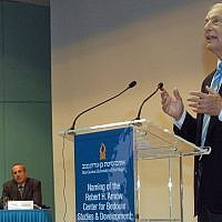 Robert Arnow speaks at the dedication of the Robert H. Arnow Center for Bedouin Studies and Development at Ben-Gurion University of the Negev in 2007. (BGU via JTA)