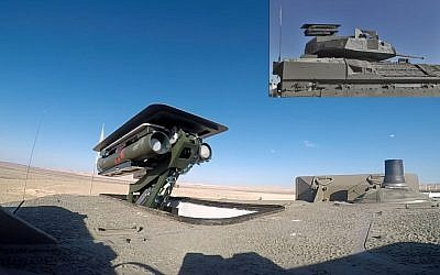 An unmanned Spike anti-tank missile system is seen atop the turret of a Namer armored personnel carrier. (Defense Ministry)