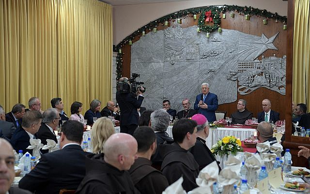 PA President Mahmoud Abbas speaking at a Christmas Eve dinner in Bethlehem, December 24, 2019. (Wafa)