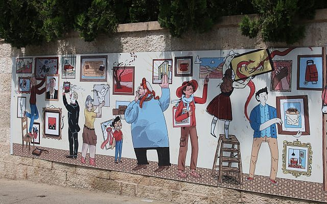 """Each illustration in the """"Street Talk"""" series offers the imaginary traveler Benny a different slant on why he should remain in Israel. (Shmuel Bar-Am)"""