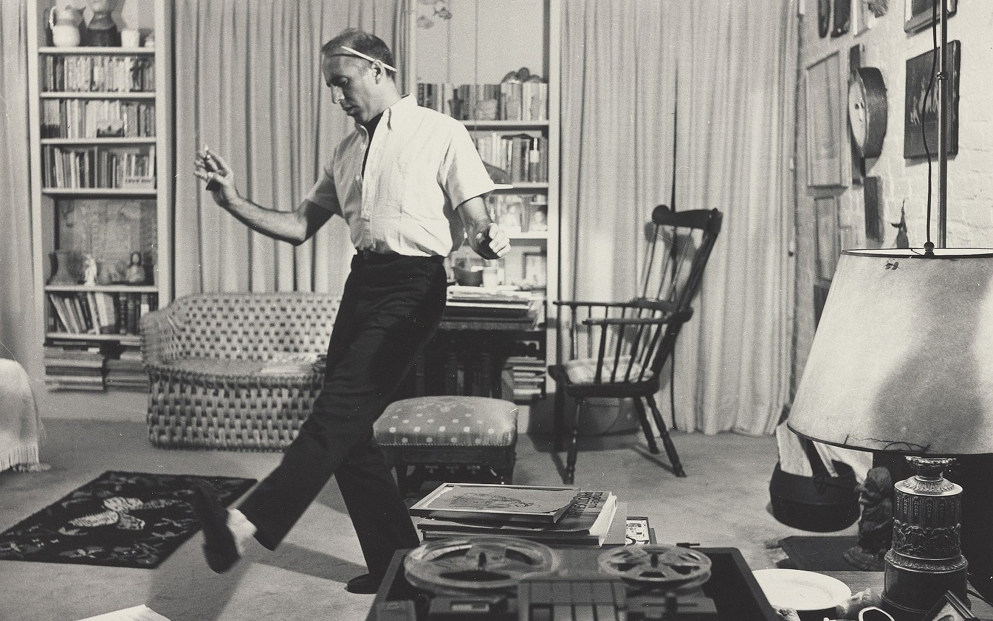 Jerome Robbins dancing in his living room in 1959. (Philippe Halsman/ Halsman Archive/ New York Public Library for the Performing Arts)
