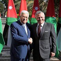 Jordanian King Abdullah and Palestinian Authority President Mahmoud Abbas meeting in Amman on December 18, 2018. (Credit: Wafa)