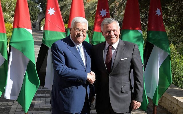 Jordanian King Abdullah and Palestinian Authority President Mahmoud Abbas meeting in Amman on December 18, 2018. (Credit: Wafa)