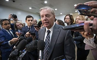 Sen. Lindsey Graham, R-South Carolina, chairman of the Subcommittee on Crime and Terrorism, speaks to reporters after a closed-door security briefing by CIA Director Gina Haspel on the slaying of Saudi journalist Jamal Khashoggi and involvement of the Saudi crown prince, Mohammed bin Salman, at the Capitol in Washington, Tuesday, December 4, 2018. (AP Photo/J. Scott Applewhite)