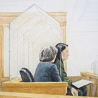 In this courtroom sketch, Meng Wanzhou, right, the chief financial officer of Huawei Technologies, sits beside a translator during a bail hearing at British Columbia Supreme Court in Vancouver, on December 7, 2018. (Jane Wolsak/The Canadian Press via AP)