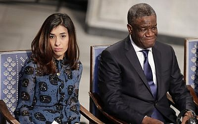 Peace Price laureates Nadia Murad (left) and Dr. Denis Mukwege at the Nobel Peace Prize Ceremony in Oslo Town Hall, Oslo, December 10, 2018 (Berit Roald / NTB scanpix via AP)