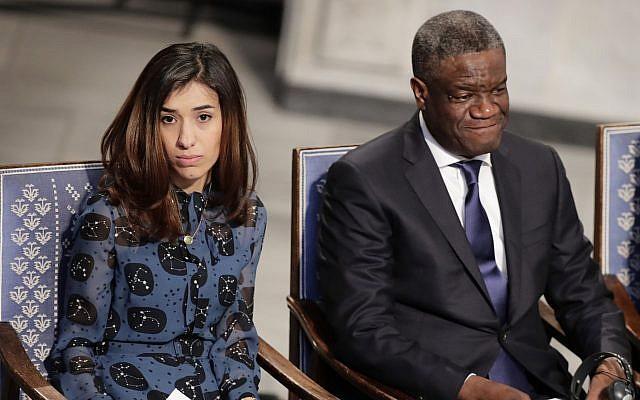 Peace Price laureates Nadia Murad (left) and Dr. Denis Mukwege at the Nobel Peace Prize Ceremony in Oslo Town Hall, Oslo, December 10, 2018 (Berit Roald / NTB scanpix via AP)