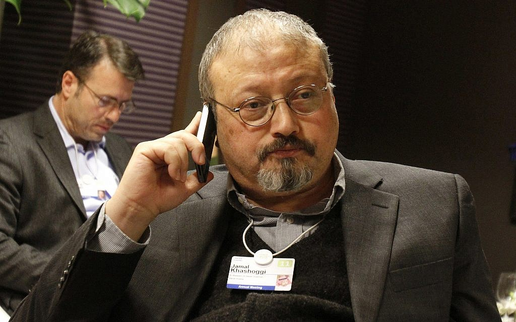 Saudi Arabian journalist Jamal Khashoggi at the World Economic Forum in Davos, Switzerland, January 29, 2011. (AP /Virginia Mayo, File)