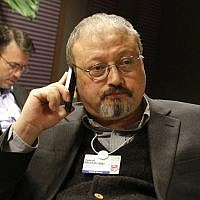Saudi Arabian journalist Jamal Khashoggi at the World Economic Forum in Davos, Switzerland, January 29, 2011. (AP Photo/Virginia Mayo, File)