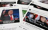 Some of the Facebook and Instagram ads linked to a Russian effort to disrupt the American political process and stir up tensions around divisive social issues, released by members of the US House Intelligence committee, as photographed in Washington, DC, on November 1, 2017. (AP Photo/Jon Elswick)