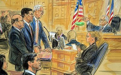 This courtroom sketch depicts former President Donald Trump's former national security adviser Michael Flynn, standing center, flanked by his lawyers, listening to U.S. District Judge Emmet Sullivan, right, as he addresses Flynn and points to the American flag inside the federal court in Washington, Washington, Tuesday, Dec. 18, 2018. Sullivan agreed to postpone Flynn's sentencing so he can continue cooperating with the Russia probe. (Dana Verkouteren via AP)