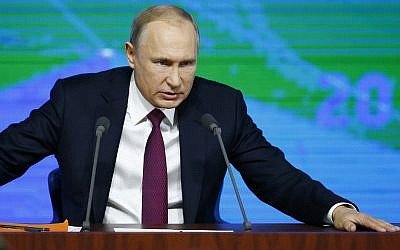Russian President Vladimir Putin speaks during his annual news conference in Moscow, Russia, December 20, 2018. (AP Photo/Alexander Zemlianichenko)