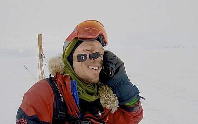 Colin O'Brady, of Portland, Oregon, speaks on the phone in Antarctica on December 26, 2018. (Colin O'Brady via AP)