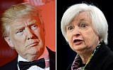 This photo combo of file photos shows US President Donald Trump and Federal Reserve Chair Janet Yellen (AP Photo)