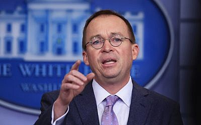 Office of Management and Budget Director Mick Mulvaney talks to reporters in the Brady press briefing room at the White House in Washington, Thursday, March 22, 2018. (AP Photo/Manuel Balce Ceneta)