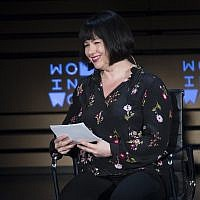 New York Times columnist Michelle Goldberg interviews author Margaret Atwood (not shown) during the ninth annual Women in the World Summit on April 13, 2018, in New York. (AP/Mary Altaffer)