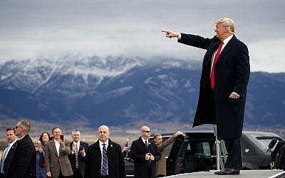 President Donald Trump arrives for a campaign rally at Bozeman Yellowstone International Airport on November 3, 2018, in Belgrade, Montana. (AP Photo/Evan Vucci)