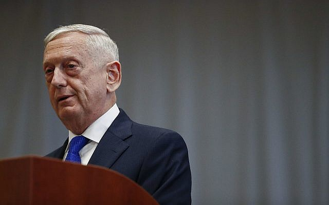 US Secretary of Defense James Mattis speaks during a change of command ceremony at the US Southern Command headquarters on November 26, 2018, in Doral, Florida. (AP Photo/Brynn Anderson)