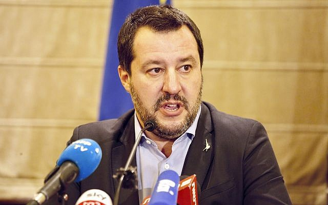 Italian Interior Minister Matteo Salvini speaks during a press conferences at the King David Hotel in Jerusalem, December 11, 2018. (AP Photo/Ariel Schalit)