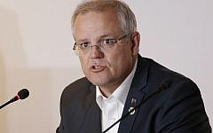 In this Nov. 18, 2018, file photo, Australian Prime Minister Scott Morrison speaks during the APEC 2018 meetings in Port Moresby, Papua New Guinea. (AP/Aaron Favila)