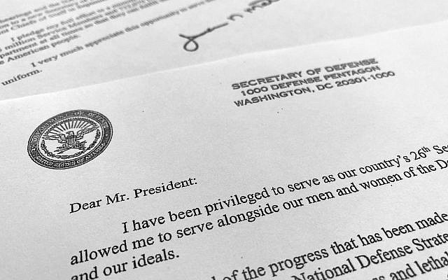 Part of US Defense Secretary Jim Mattis' resignation letter to President Donald Trump is photographed in Washington, on December 20, 2018. (AP Photo/Jon Elswick)
